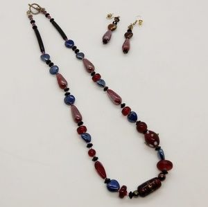 Glass Beaded Necklace & Earring Set